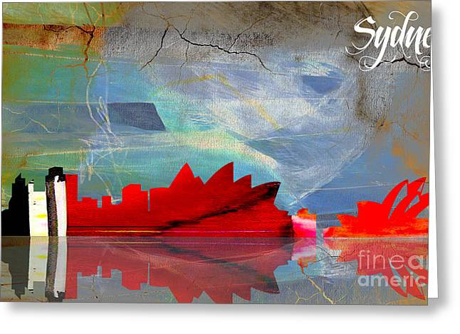 Travels Greeting Cards - Sydney Australia Skyline Watercolor Greeting Card by Marvin Blaine