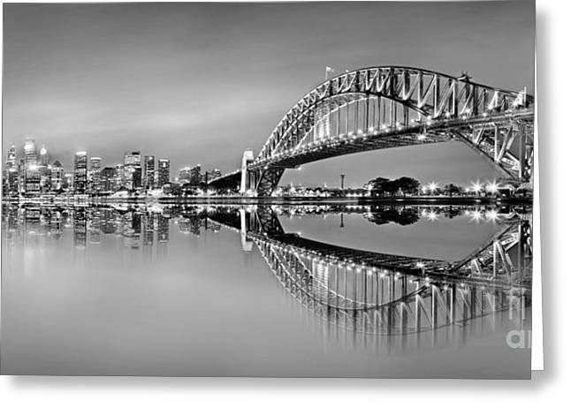 Winter Photos Photographs Greeting Cards - Sydney City Reflections - BW Greeting Card by Az Jackson