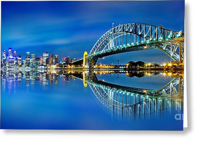 Winter Photos Photographs Greeting Cards - Sydney City Reflections Greeting Card by Az Jackson