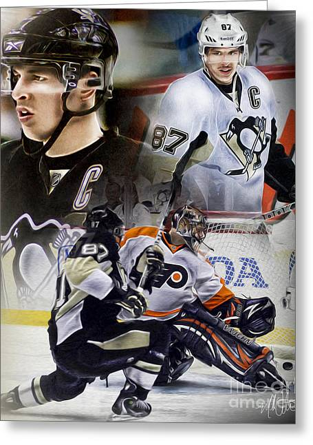 Sid The Kid Greeting Cards - Sydney Crosby Greeting Card by Mike Oulton