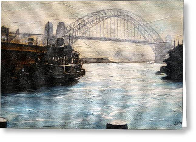 Lyndsey Hatchwell Greeting Cards - Sydney Ferry Wharves 1950s Greeting Card by Lyndsey Hatchwell