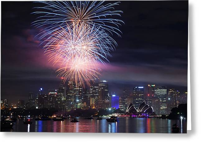 Australasia Greeting Cards - Sydney fireworks Greeting Card by Matteo Colombo