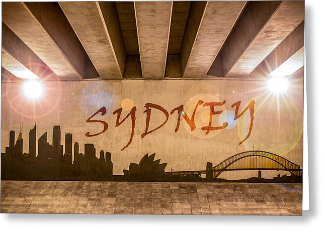 Industrial Concept Greeting Cards - Sydney Graffiti Skyline Greeting Card by Semmick Photo