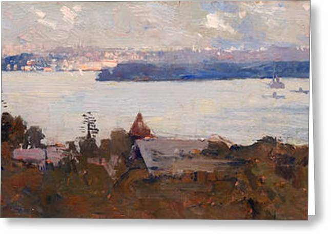 Historic Home Greeting Cards - Sydney Harbor from Penshurst Greeting Card by Arthur Streeton