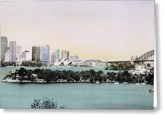 Hand-colored Greeting Cards - Sydney Harbor, New South Wales, United Greeting Card by Panoramic Images