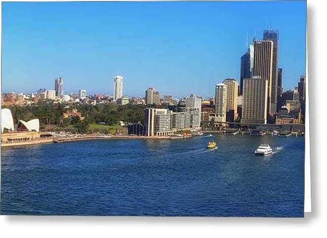 Boat Cruise Greeting Cards - Sydney Harbor Panorama Greeting Card by Mountain Dreams