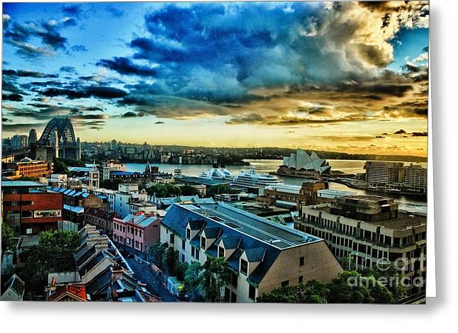 Best Selling Bird Art Greeting Cards - Sydney Harbor Sunrise Greeting Card by Syed Aqueel