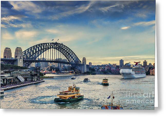 Carnival Spirit Greeting Cards - Sydney Harbour at Twilight Greeting Card by Colin and Linda McKie