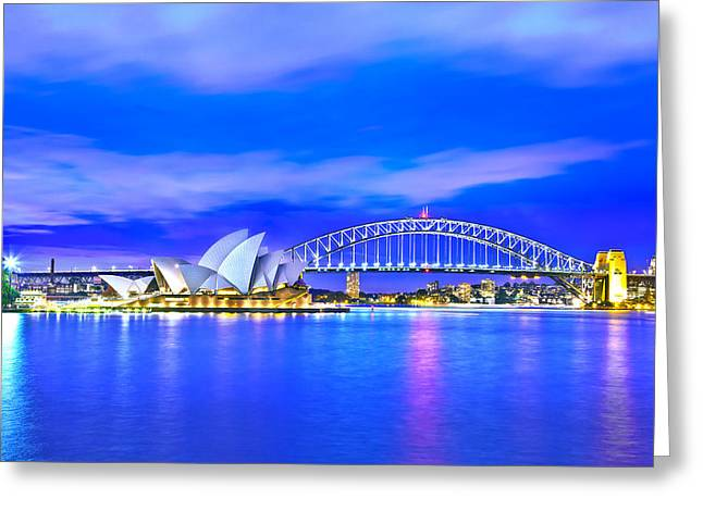 Www Greeting Cards - Sydney Harbour Blues Greeting Card by Az Jackson