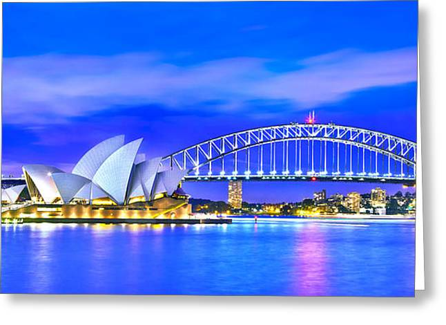 Sydney Harbour Blues Panorama Greeting Card by Az Jackson