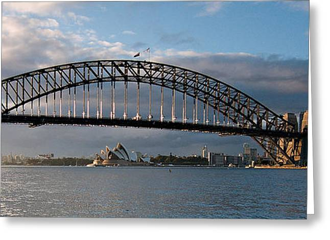 Coat Hanger Greeting Cards - Sydney Harbour Bridge at Dawn.  Art photo digital download and wallpaper screensaver. DIY Print. Greeting Card by Geoff Childs