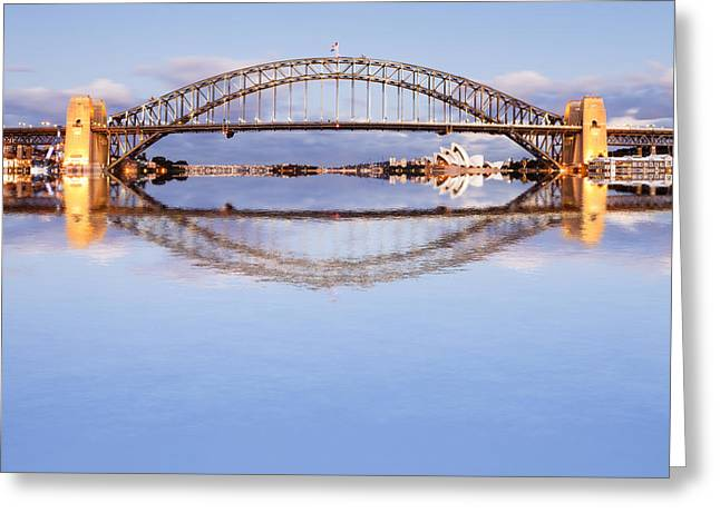 Sydney Harbour Greeting Cards - Sydney Harbour Bridge at Twilight Greeting Card by Colin and Linda McKie