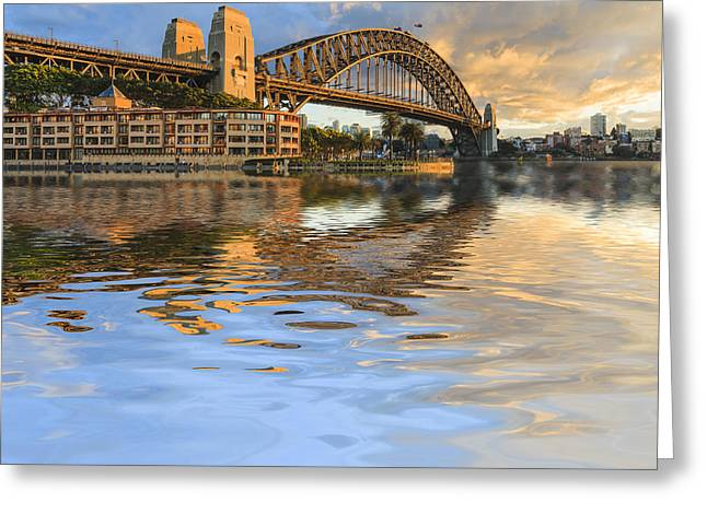 Australia Photographs Greeting Cards - Sydney Harbour Bridge Australia Spectacular Early Morning Light Greeting Card by Colin and Linda McKie