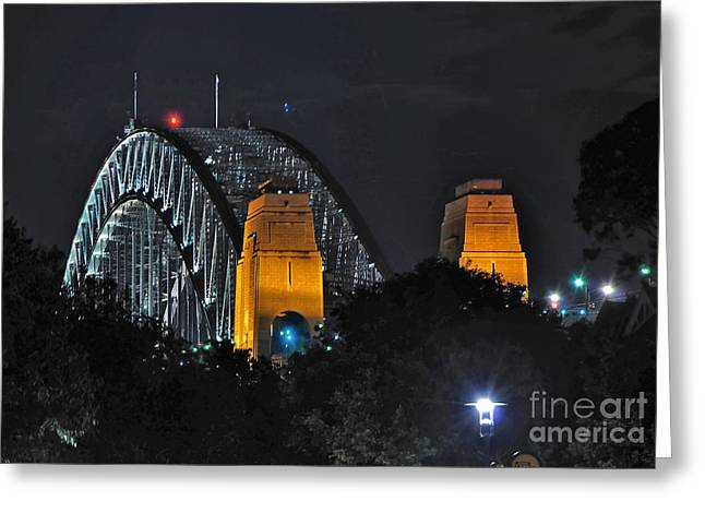 Sydney Harbour Bridge By Night - Different Perspective Greeting Card by Kaye Menner