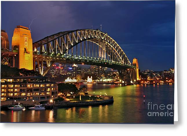 Sydney Harbour Bridge By Night Greeting Card by Kaye Menner