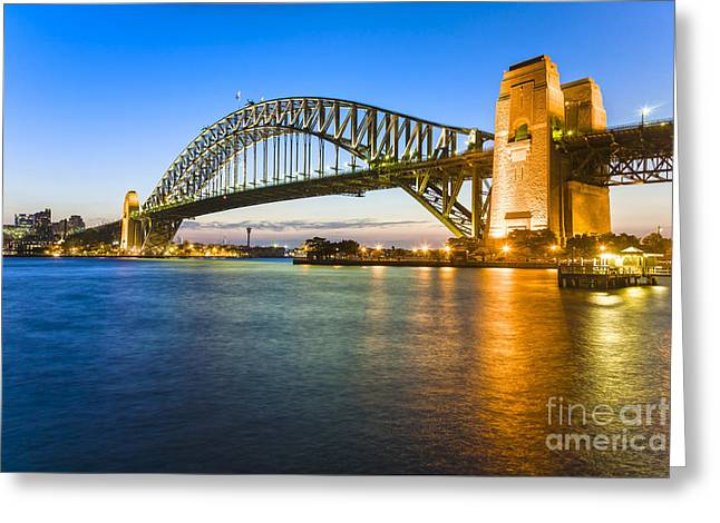 Sydney Harbour Greeting Cards - Sydney Harbour Bridge Illuminated at Twilight Greeting Card by Colin and Linda McKie