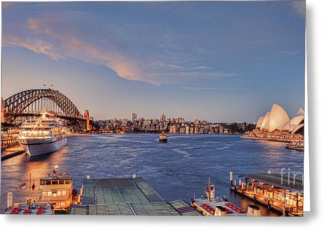 Blue Hour Greeting Cards - Sydney Harbour By Night Greeting Card by Colin and Linda McKie