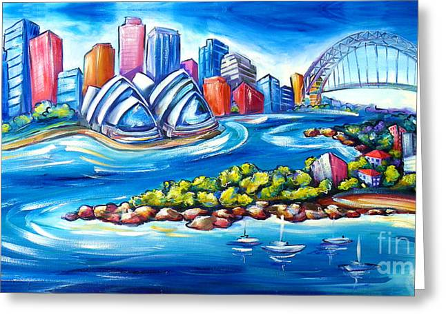 Sydney Harbour Greeting Card by Deb Broughton