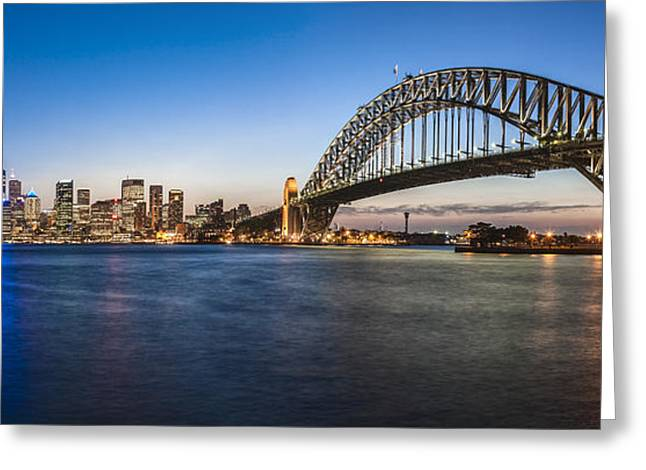 Tourists Greeting Cards - Sydney Harbour Evening Panorama Greeting Card by Colin and Linda McKie
