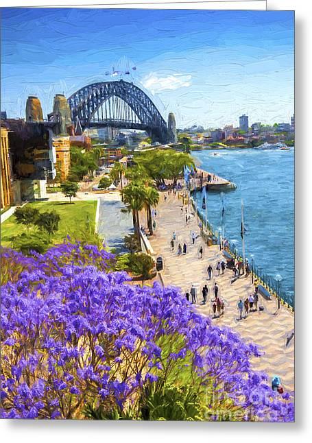 Jacaranda Greeting Cards - Sydney Harbour jacaranda Greeting Card by Sheila Smart