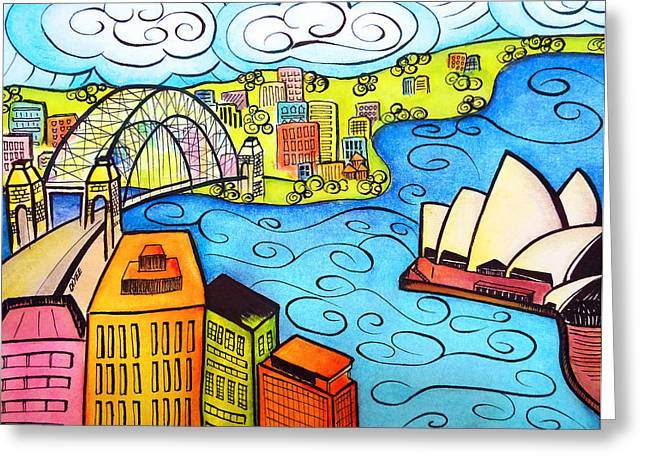 Oystudio Greeting Cards - Sydney Harbour  Greeting Card by Oiyee  At Oystudio
