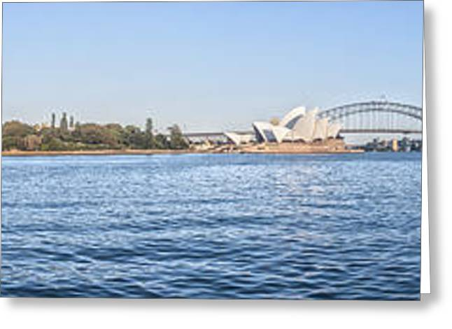 Sydney Harbour Greeting Cards - Sydney Harbour Panorama Greeting Card by Colin and Linda McKie