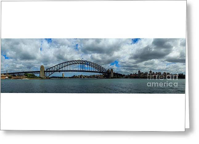 Coat Hanger Greeting Cards - Sydney Harbour Panorama Greeting Card by Stephen Allen