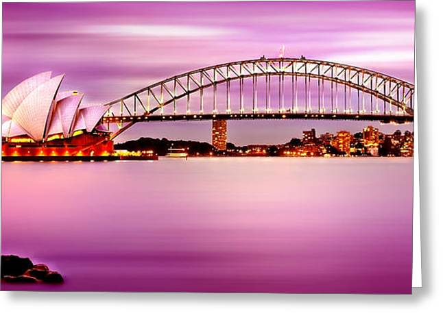 Photograph Greeting Cards - Sydney Harbour Pink Sunset Greeting Card by Az Jackson