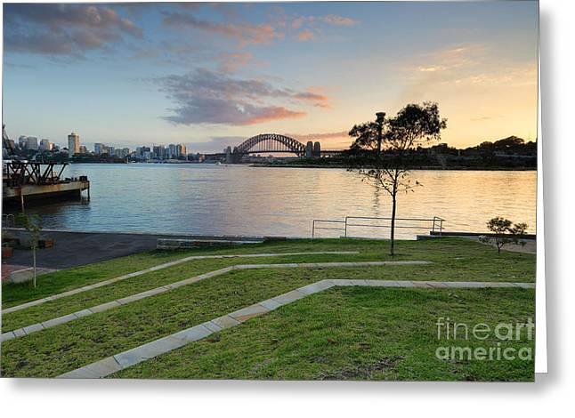 Balmain Greeting Cards - Sydney Harbour Sunrise from Balmain Greeting Card by Leah-Anne Thompson