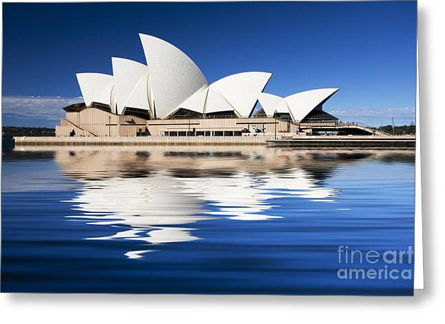 White Blue Greeting Cards - Sydney Icon Greeting Card by Sheila Smart