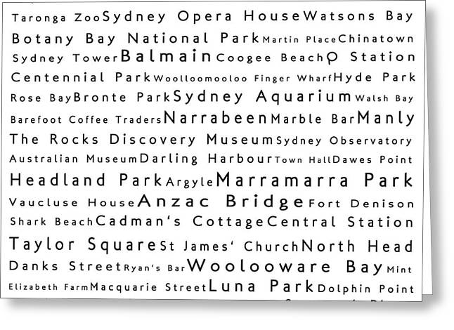 Luna Greeting Cards - Sydney in Words White Greeting Card by Sabine Jacobs
