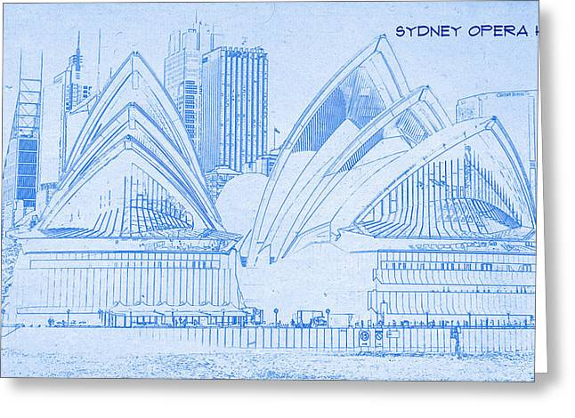 Bravery Mixed Media Greeting Cards - Sydney Opera House - BluePrint Drawing Greeting Card by MotionAge Designs