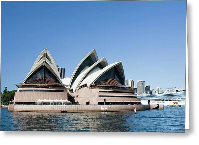 Sydney Opera House And Large Cruise Liner Greeting Card by Ashley Cooper