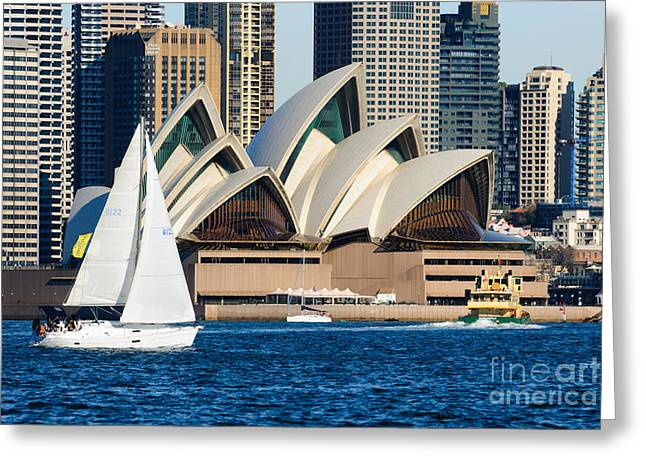20th Greeting Cards - Sydney Opera House and Sydney Harbor with Yacht in front Greeting Card by David Hill