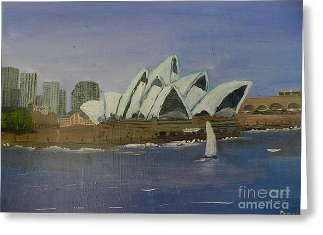 Sydney Opera House Greeting Card by Pamela  Meredith