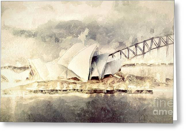 White House Prints Greeting Cards - Sydney Opera House Greeting Card by Shanina Conway