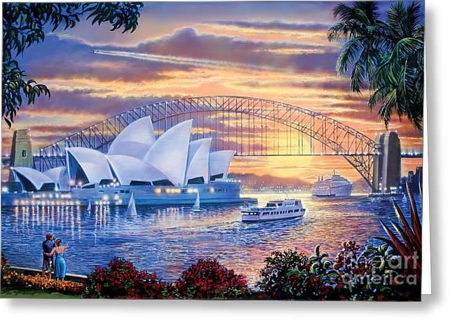 Crisp Digital Art Greeting Cards - Sydney Opera House Greeting Card by Steve Crisp