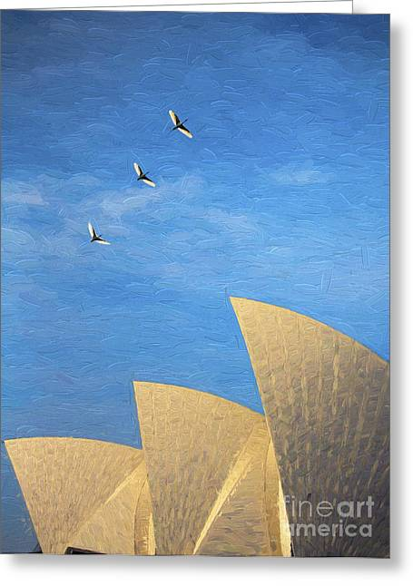 Sacred Digital Art Greeting Cards - Sydney Opera House with sacred ibis Greeting Card by Sheila Smart
