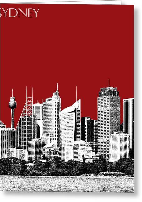 Sydney Skyline 1 - Dark Red Greeting Card by DB Artist