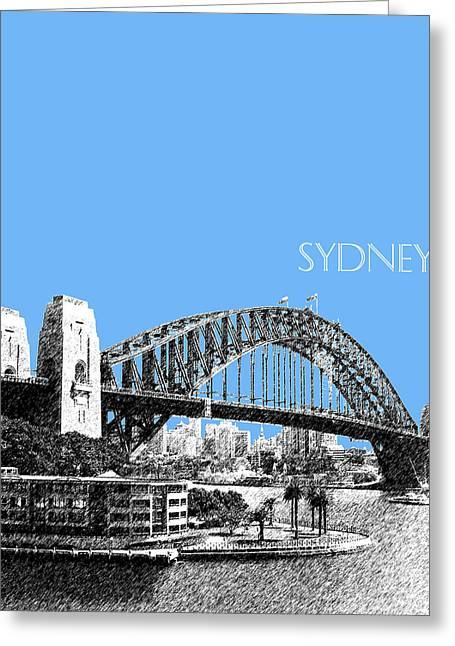Sydney Skyline 2 Harbor Bridge - Light Blue Greeting Card by DB Artist