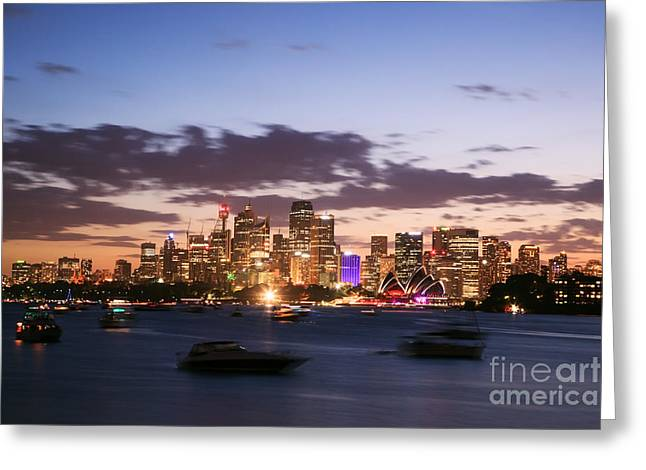 Australasia Greeting Cards - Sydney skyline at dusk Australia Greeting Card by Matteo Colombo