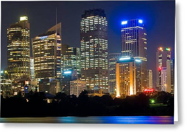 Cliff C Morris Jr Greeting Cards - Sydney Skyline at Night Greeting Card by Cliff C Morris Jr