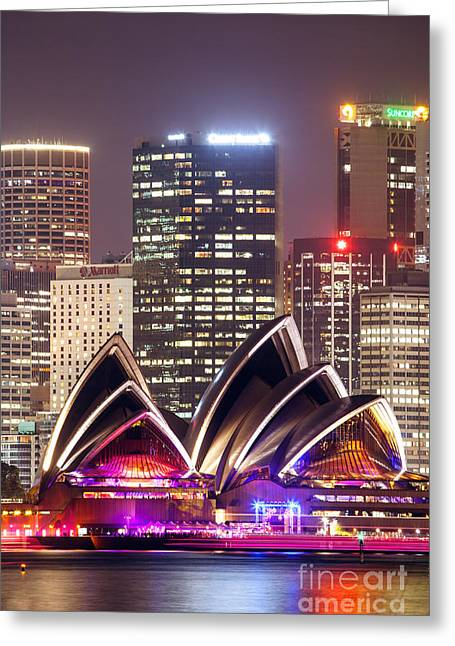 Australia - Australasia Greeting Cards - Sydney skyline at night with Opera House - Australia Greeting Card by Matteo Colombo