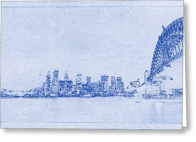 Justin Woodhouse Greeting Cards - Sydney Skyline Blueprint Greeting Card by Justin Woodhouse