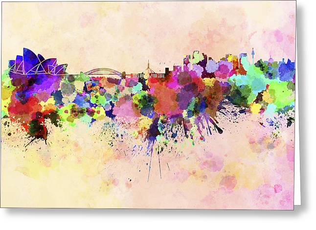 Sydney Skyline In Watercolor Background Greeting Card by Pablo Romero