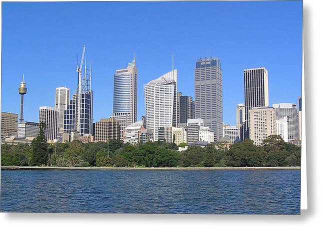 Buildings By The Sea Greeting Cards - Sydney Skyline Greeting Card by Simon Alvinge