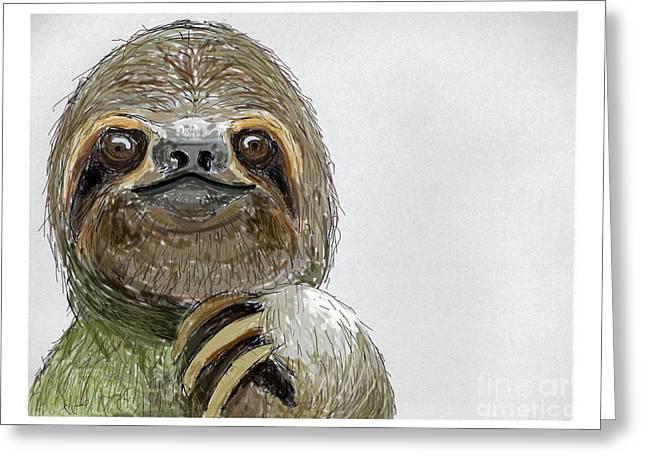Sloth Digital Greeting Cards - Sydney The Three-Toed Sloth Greeting Card by John Gaffen