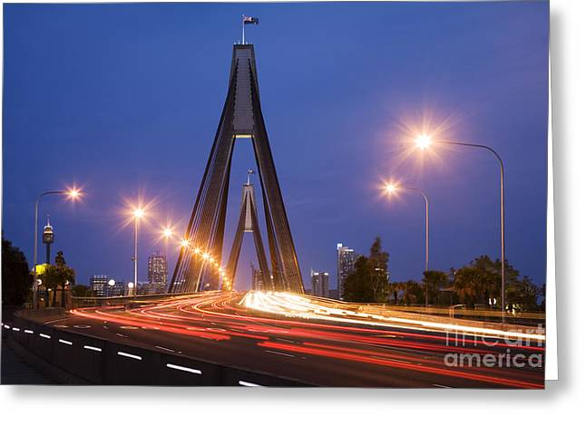 Headlight Greeting Cards - Sydney Traffic and Anzac Bridge at Twilight Greeting Card by Colin and Linda McKie