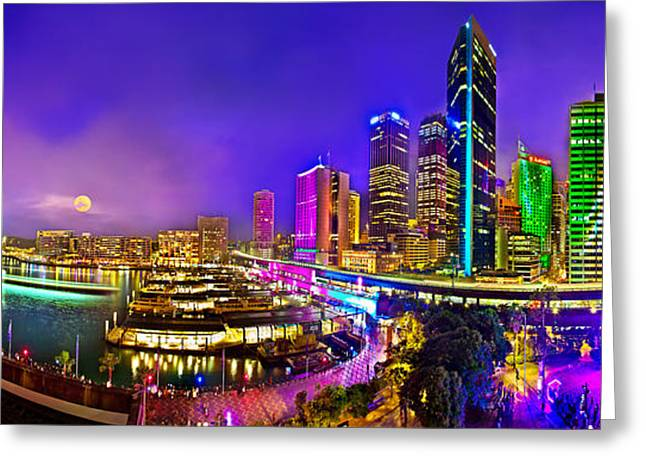 Sydney Vivid Festival Greeting Card by Az Jackson