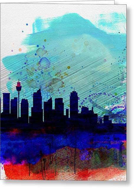 Panoramic Greeting Cards - Sydney Watercolor Skyline Greeting Card by Naxart Studio